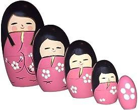 Matrioska Rosa 5 bonecas de Madeira + Mini Matrioska Oval - 9cm