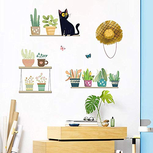 Plantas En Macetas Pegatinas De Pared Flores Naturales Pegatinas De Pared De Dormitorio Gato Mariposa Mariposa Cactus Pegatinas De Pared-Plantas En Macetas-6