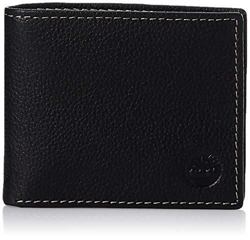 Timberland Herren Leather Wallet with Attached Flip Pocket Reisezubehör - zweifach gefaltetes Portemonnaie, Schwarz (Sportz), Einheitsgröße
