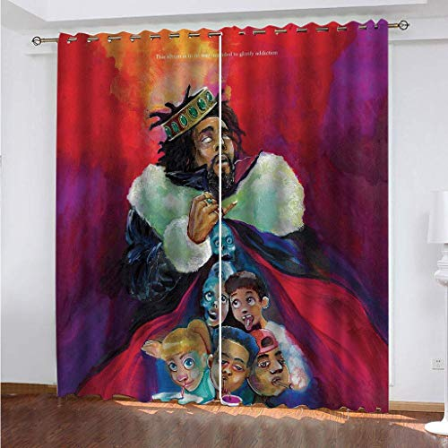 LLPZ Cortinas De Impresión para Niños Creative King, Cortinas De Poliéster Resistentes Al Desgaste, Cortinas Insonorizadas para Dormitorio 2×W75×L166cm