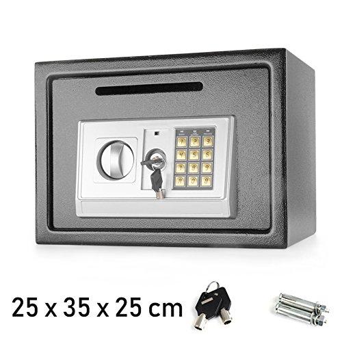 Digitale di sicurezza cassaforte portavalori in acciaio serratura elettronica 16litro grande 25x 35x 25cm grigio, da parete o a pavimento, per casa o ufficio, con due chiavi