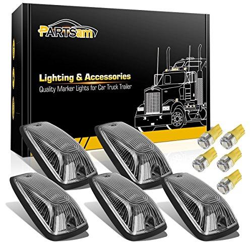 Partsam 5X Cab Marker Light Top Roof Running Light Clear Lens/Base 264159CL + 5X Amber T10 LED Light Bulbs Compatible with Chevy/GMC C1500 C2500 C3500 K1500 K2500 K3500 1988-2002 Kodiak Topkick