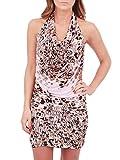 2b. RYCH Halter Bodycon Dress, Pink Animal Print, X-Small