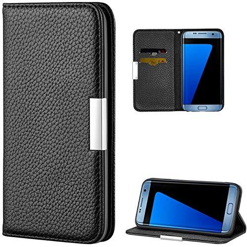 Vepbk für Samsung Galaxy S7 Edge [NO für S7] Hülle, Schutzhülle Handytasche Lederhülle Flip Handyhülle Case Leder Tasche Bookstyle Magnet Brieftasche Geldbörse Schale für Galaxy S7 Edge,Schwarz
