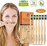 Spazzolini di bambù,6 pz Spazzolino Bamboo,Riutilizzabili,Naturale e Vegan,biodegradabile, 100% senza BPA,Carbone Spazzolino denti Bamboo toothbrushes, Eco Friendly per la Pulizia dei Denti (3 colori)