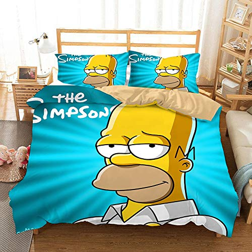 SK-LBB 3D Cartoon Pattern Girl Kids All-season Bedding Set, The Simpsons Duvet Cover Set, Zipper Opening and Closing Soft Microfiber Three-piece Suit (04,single 150X200CM)