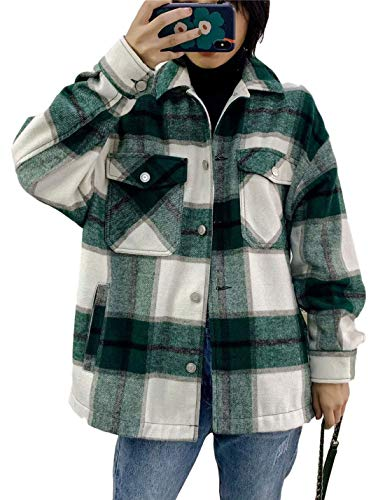 Tanming Womens Brushed Flannel Plaid Lapel Button Short Pocketed Shacket Shirts Coats(01 Green-M)