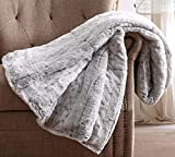 Christian Siriano - Luxurious Snow Leopard Fur Filled Grey Throw (60' x 70') - Gift Box Included - Perfect for Gifting Friends & Family