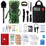 Emergency Camping Outdoor Survival Kit First Aid Kit, Tactical Camping Gear Tool, Cool Gadgets Gifts for Men,Survival Gear Equipment Supplies with Molle Pouch for Camping Adventures Hunting Hiking