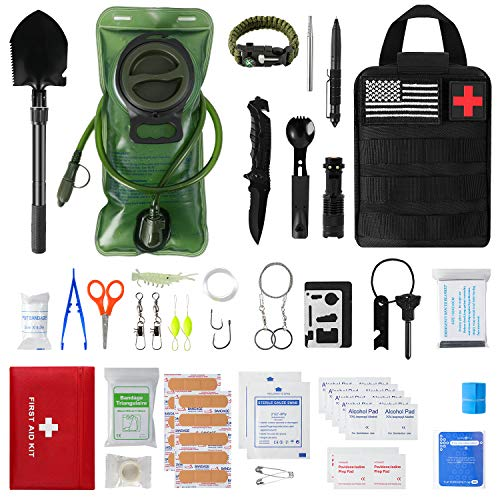 Emergency Camping Outdoor Survival Kit First Aid Kit,...