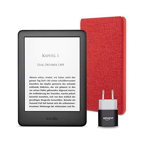 Kindle Essentials Bundle mit einem Kindle (Schwarz) ohne Spezialangebote, einer Amazon-Hülle aus Stoff (Rot) und einem Amazon Powerfast 5-W-Ladegerät