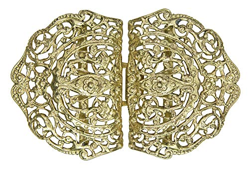 Dirndlschürzenschließe mit Ornamenten Halbrund - Gold - Trachtenschnalle Dirndlschürzenverschluss Schürzenklammer