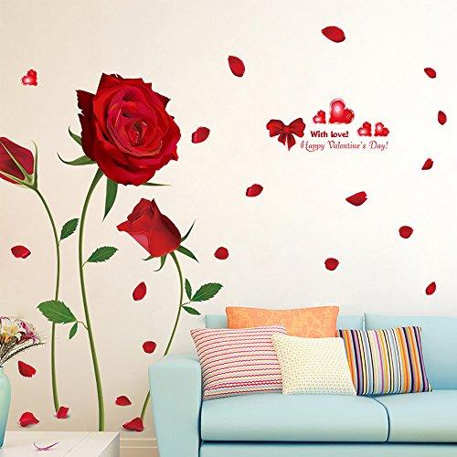 Pingenaneer 60 x 90cm PVC Wandaufkleber Wandtattoo Schöne Blumen Wandsticker Entfernbare Für Wohnzimmer Schlafzimmer Dekoration - Rose