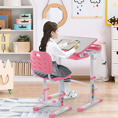 Study Desk and Chair Set Kids Height Adjustable Media Studying Table Student Computer Workstation Large Writing Board Desk with Tilt Desktop Pull Out Drawer Pencil Case Bookstand US Shipping (Pink)
