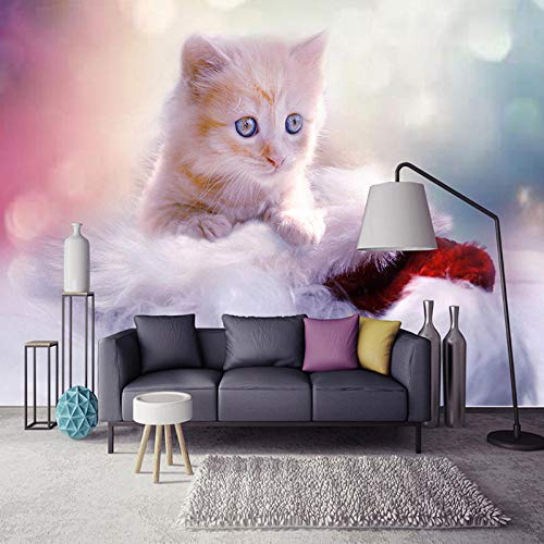 MGQSS Tapete Wandgemälde Wandkunst Nette Katze Zoohandlung 3D Selbstklebend PVC Wandgemälde Essen und Trinken Café Geschäft Restaurant Bekleidungsgeschäft Jahrgang Thema Hintergrund (B)250x(H)175 cm