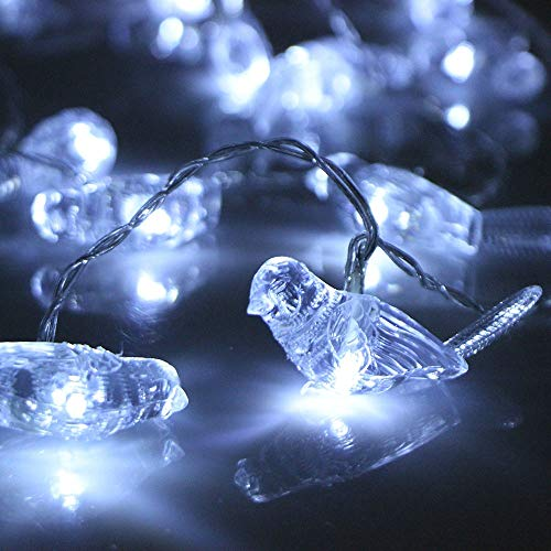 20er LED Lichterkette Kristallvogel, Dapei Kupferdraht Lichterketten 2.5M Länge LED String Licht Batteriebetriebene Kaltesweiß Lichterketten für innen, Haus, Weihnachten, Hochzeit, Zimmer