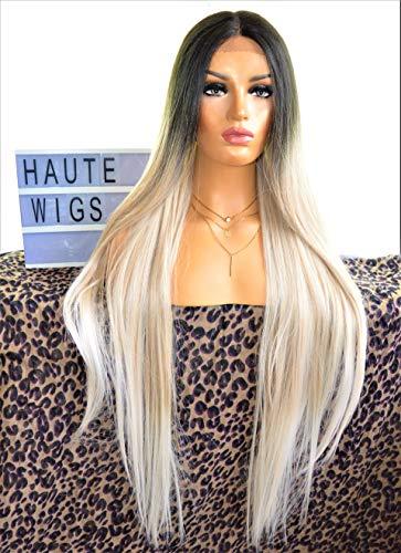 Haute Wigs Sylvia XXX Perruque de luxe en cheveux humains pour femme Blond platine argenté 101,6 cm