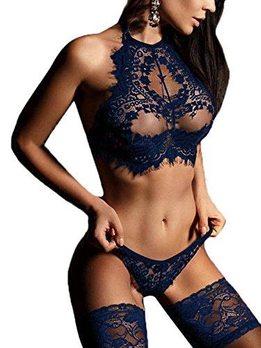 YOINS Mujer Ropa Erótica Camisón Sexy Translúcido Elástico de Encaje Floral con Tanga Atractivo Pasión Babydoll Ropa de Dormir
