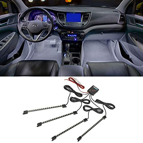 LEDGlow 4pc White LED Interior Footwell Underdash Neon Lighting Kit for Cars & Trucks - 7 Unique Patterns - Music Mode - 8 Brightness Levels - Auto Illumination Bypass Mode - Universal Fitment