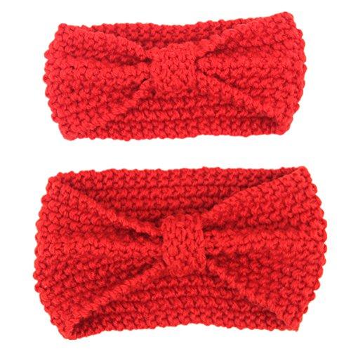 Fletion Mutter und Baby Stricken Wolle Haarband Haarreif Kleinkind Geknotete Hairband Eltern-Kind Stirnband, Rot