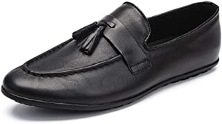 Xujw-shoes, Slip-on Penny Loafers for Men Genuine Leather Lightweight Breathable Dress Wedding Flat Shoes Tassel Anti-Slip Fashion British Leisure Round Toe
