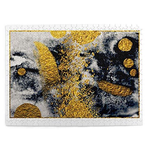 LiBei Puzzle 500 Piezas Adultos,Rompecabezas,Artgold Painting Pintura Negra de Lujo Natural,Juegos Educativos,Entretenimiento Adultos,Niños y Adolescentes,Divertido Regalo