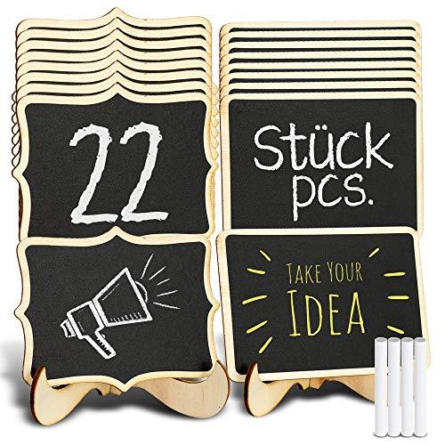 TRITART Pizarras pequeñas de madera - 22 mini carteles originales con 4 tizas para meseros boda - sitting o reservados - Precios o platos en bares - vitrinas expositoras - mesa dulce - etc.