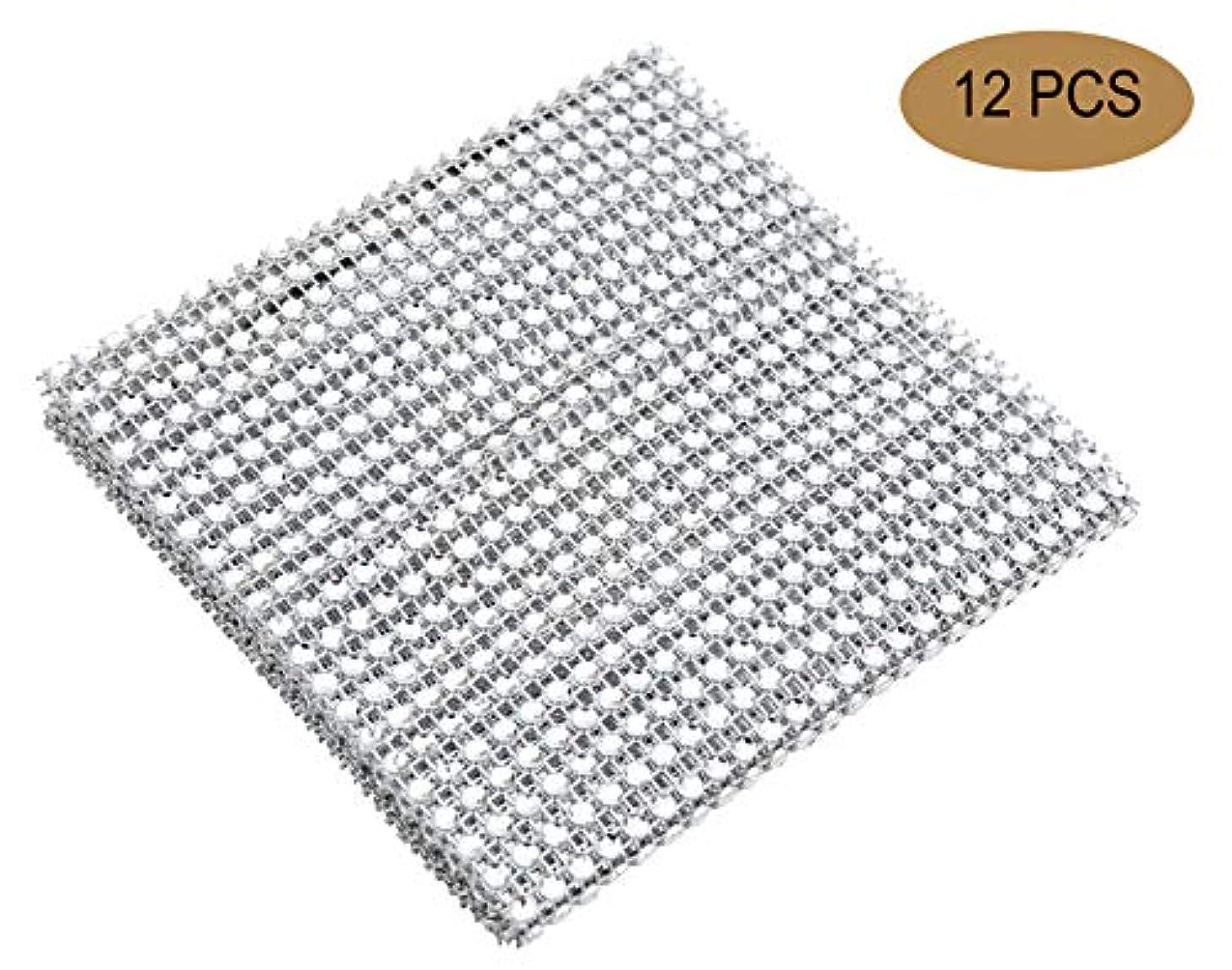 YYaaloa 12pcs 24 Rows 1 Yard Imitation Diamond Rhinestone Ribbon Mesh for Weeding Banquet Decoration Wrap Craft (Silver 12PCS)