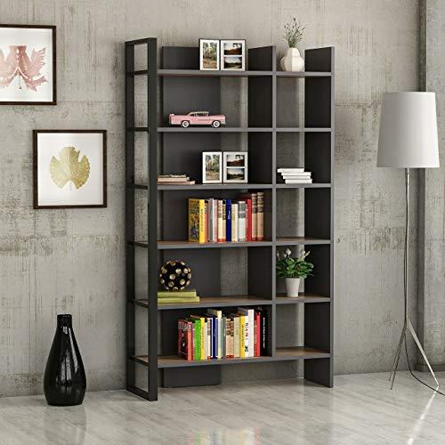 Homemania Libreria, Truciolare Melaminico, Metallo, Noce, Antracite, Nero, 92 x 28 x 173 cm