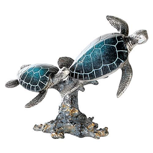 Casablanca Figur Schildkröten - Poly blau-Silber-farbig auf Koralle Breite 24 cm