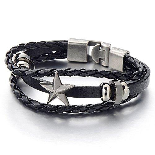 COOLSTEELANDBEYOND Stern Multi-Strang Leder-Armband Wickeln Schweißband Jungen Herren Damen Armband Schwarz Geflochtenes Leder