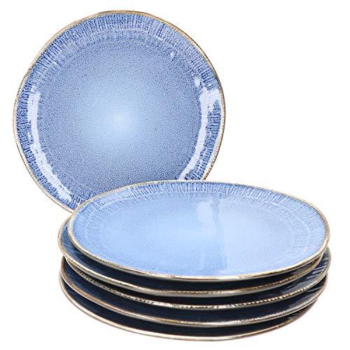 MamboCat Reactive Blue 6er Speise-Teller-Set I Steingut-Teller für 6 Personen - robust & handgefertigt I maritimes Steingut-Geschirr - Design in Kupfer-Optik schwarz-blau I ESS-Teller flach 6 Stück