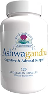 Ayush Herbs Ashwagandha, Powerful Cognitive, Adrenal, Immune-System, and Full-Body Support, All-Natural Ayurvedic Suppleme...