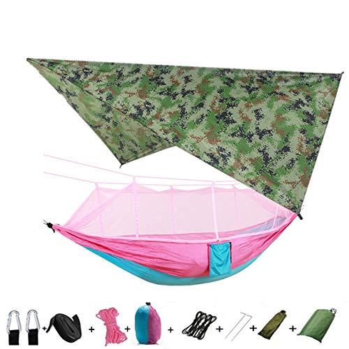 Portable léger Camping et hamac Tente Auvent Pluie Fly Tarp imperméable moustiquaire hamac Canopy 210T Nylon Hamacs (Color : Camouflage and Pink)
