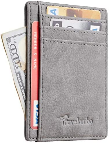 Travelambo Front Pocket Minimalist Leather Slim Wallet RFID Blocking Medium Size OD Grey product image