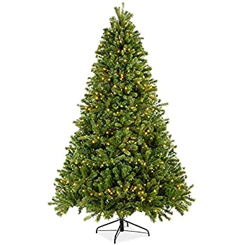 Best Choice Products 7.5ft Pre-Lit Douglas Fir Christmas Tree Holiday Decoration with Realistic Feel w/ 8 Light Sequences Foot Switch 1912 Tips Easy Assembly Metal Hinges & Base