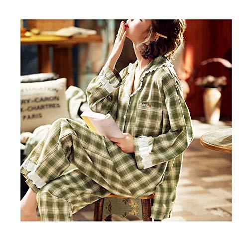 Katoenen pyjama met lange mouwen, dun tweedelig pak voor dames en heren, lichtgroen geruite huiskleding