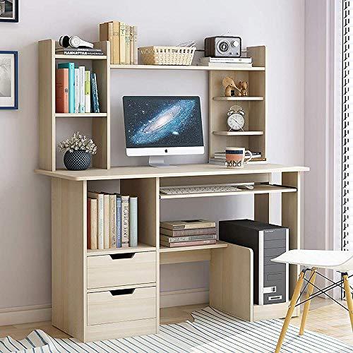 Mesa de escritorio de oficina moderna y resistente con cajones, estantería de estudio, oficina, computadora, escritorio, escritorio, estudio, escritura, para oficina en casa, 172 cm - C_90 cm