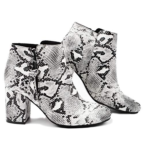Gnpolo Snakeskin Ankle Boots for Womens Snake Booties Block Heel Pointed Toe Zipper Work Shoes