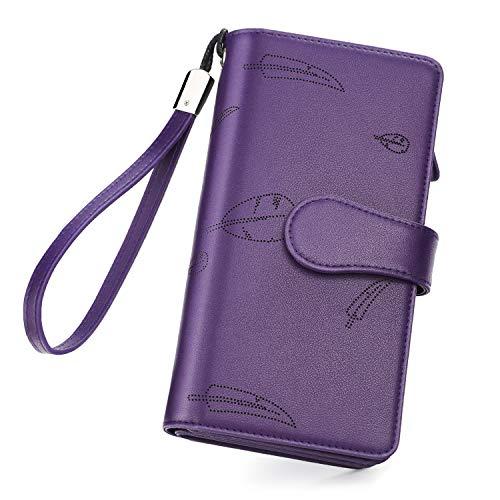 Geldbörse Damen Leder, Vogek Geldbeutel Damen mit RFID Schutz Viele Fächer Portemonnaie Frauen Brieftasche Damengeldbörse Portmonee Leder mit Handyfach und Reißverschluss (Lila)