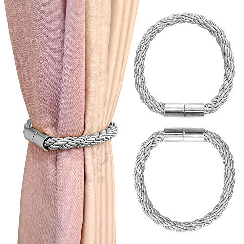 Manfore Magnetische Vorhang Raffhalter, Vorhanghalter Magnetisch/Gardinenhalter/Vorhang Binder für Haus Dekoration 2 Stücke(Grau)