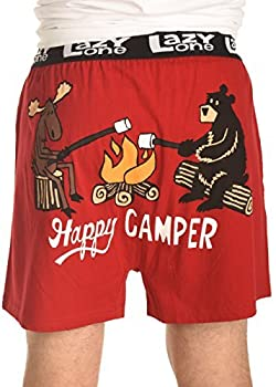Lazy One Funny Animal Boxers Novelty Boxer Shorts Humorous Underwear Gag Gifts for Men Camping Bear Moose  Happy Camper Large