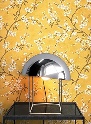 NEWROOM Tapete Gelb Vliestapete Blumen - Blumentapte Floral Creme Beige Blätter Baum Mustertapete Tropisch Natur Botanisch inkl. Tapezier-Ratgeber