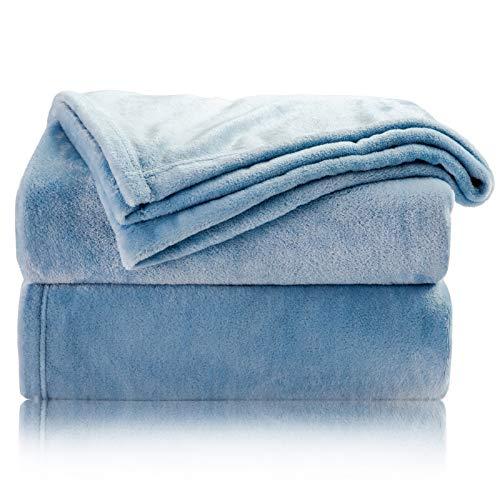 Bedsure Mantas para Sofás de Franela 150x200 cm - Manta para Cama 90 Reversible de 100% Microfibre Extra Suave - Manta Azúl Transpirable