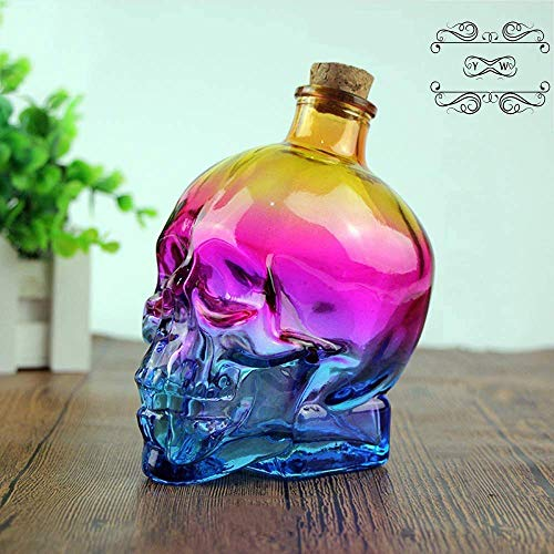 400ML Skull Face Whiskey Decanter Set, 3PCS Skull Crystal Glass Decanter, Italiy Lead-Free Crafted Glass Bottle, Best Halloween Decorations, Gift Set, Wine Bottle Holder, Bar