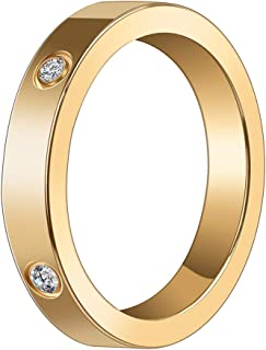 DGH-OUY 2020new Love Rings, Promise with Design Best Gifts for Love Women's 4mm Titanium Steel Ring , Crystals Ring