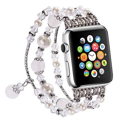 LANilianhuqa Banda compatible con Apple Watch 38-40 mm/42-44 mm, pulsera de ágata elástica hecha a mano para Apple Watch Series /4/3/2/1 38-40 mm, color blanco