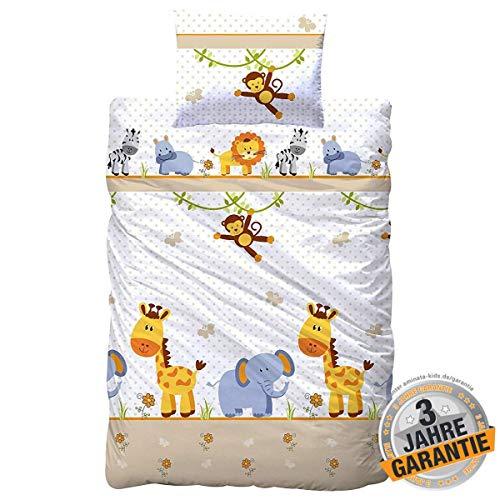 Aminata Kids Kinderbettwäsche 100-x-135 Mädchen, Jungen mit Zoo-Tieren, Giraffe, AFFE, Löwe, Zebra & Elefant, Baumwolle mit Reißverschluss, Baby-Kinder-Bettwäsche-Set, Safari-Motiv & Dschungel-Tiere