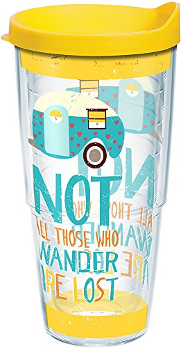 Tervis Not All Those Who Wander Are Lost Tumbler with Wrap and Yellow Lid 24oz, Clear