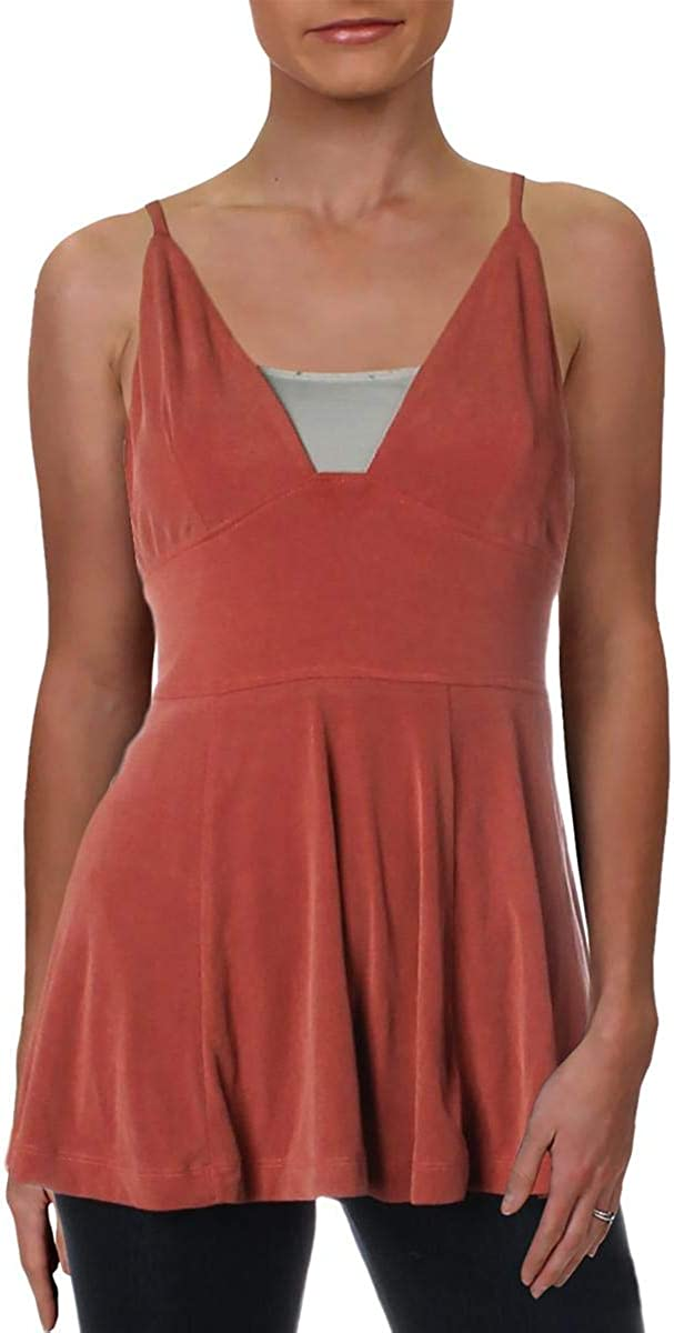 Free People Womens Never Let You Go Strappy Ribbed Tank Top Brown XS